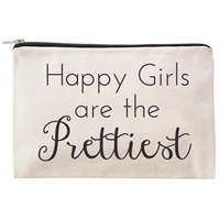 Happy Girls Are the Pretties Zip Cosmetic Case Travel Pouch