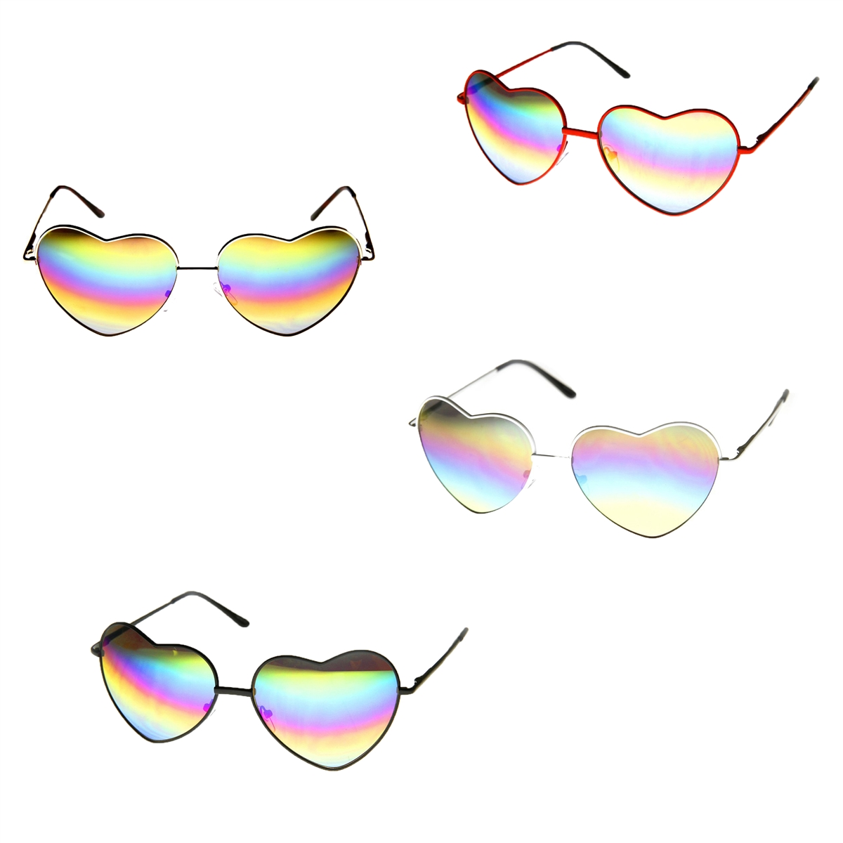 0f1a30d00 Fashion Culture Rainbow Lens Heart Frame Sunglasses