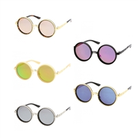 Fashion Culture Steampunk Round Mirrored Sunglasses