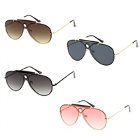 Raver 60 mm Rimless Flat Shield Aviator Sunglasses