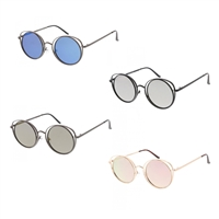 Open Wire Round Cat Eye Mirrored Sunglasses