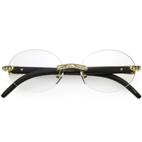 Fashion Culture Crystal Embellished Rimless Oval Blue Light Filter Glasses