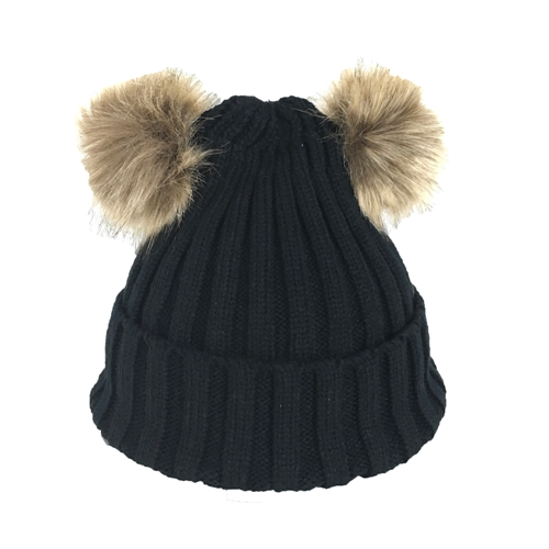 Fashion Culture Double Pom Pom Beanie Hat