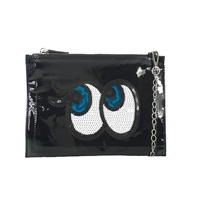 Fashion Culture Emoji Eyes w Lashes Clutch Wristlet