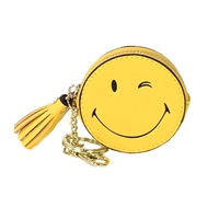 Wink Smiley Face Coin Purse Key Ring Bag Charm