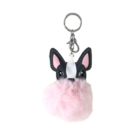 Boston Terrier Frenchie Pom Pom Bag Charm Keychain