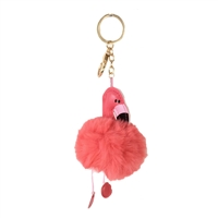 Flamingo Pom Pom Bag Charm Key Chain