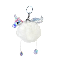 Unicorn Pom Pom Bag Charm Key Chain