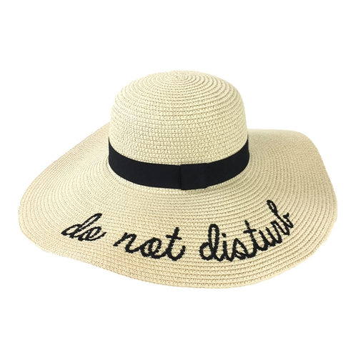 Fashion Culture 'Do Not Disturb' Floppy Sun Hat, Beige
