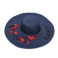 Happy' Floral Embroidered Wide Brim Sun Hat