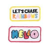 Hello Let's Chase Rainbows Embroidered Iron On Patch Applique 2 Pack, Multi