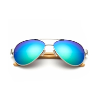 Spark 60mm Bamboo Aviator Mirrored Sunglasses