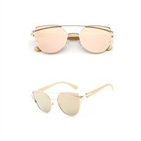 Drama Pink Mirrored Lens Cat Eye Bamboo Sunglasses