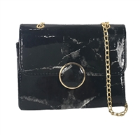 Fashion Culture Marble Print Chain Shoulder Bag