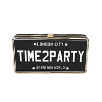 Fashion Culture Time 2 Party License Plate Convertible Clutch