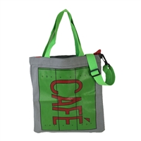 Cafe Canvas Eco Shopping Tote Crossbody Bag