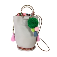 Emmie Vegan Leather Embroidered Pouchette Bucket Bag