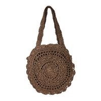 Fashion Culture Macrame Straw Round Tote
