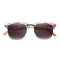 Bloom Square Half Frame Floral Print Sunglasses