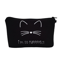 Im So Purrrfect Cat Zip Cosmetic Case Travel Pouch