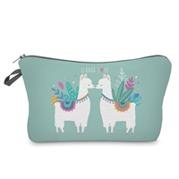 Llama Love Zip Cosmetic Case Travel Pouch