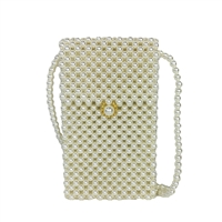 Fashion Culture Lulu Simulated Pearl Beaded Phone Crossbody