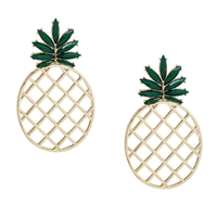 Tropics Pineapple Earrings, Gold