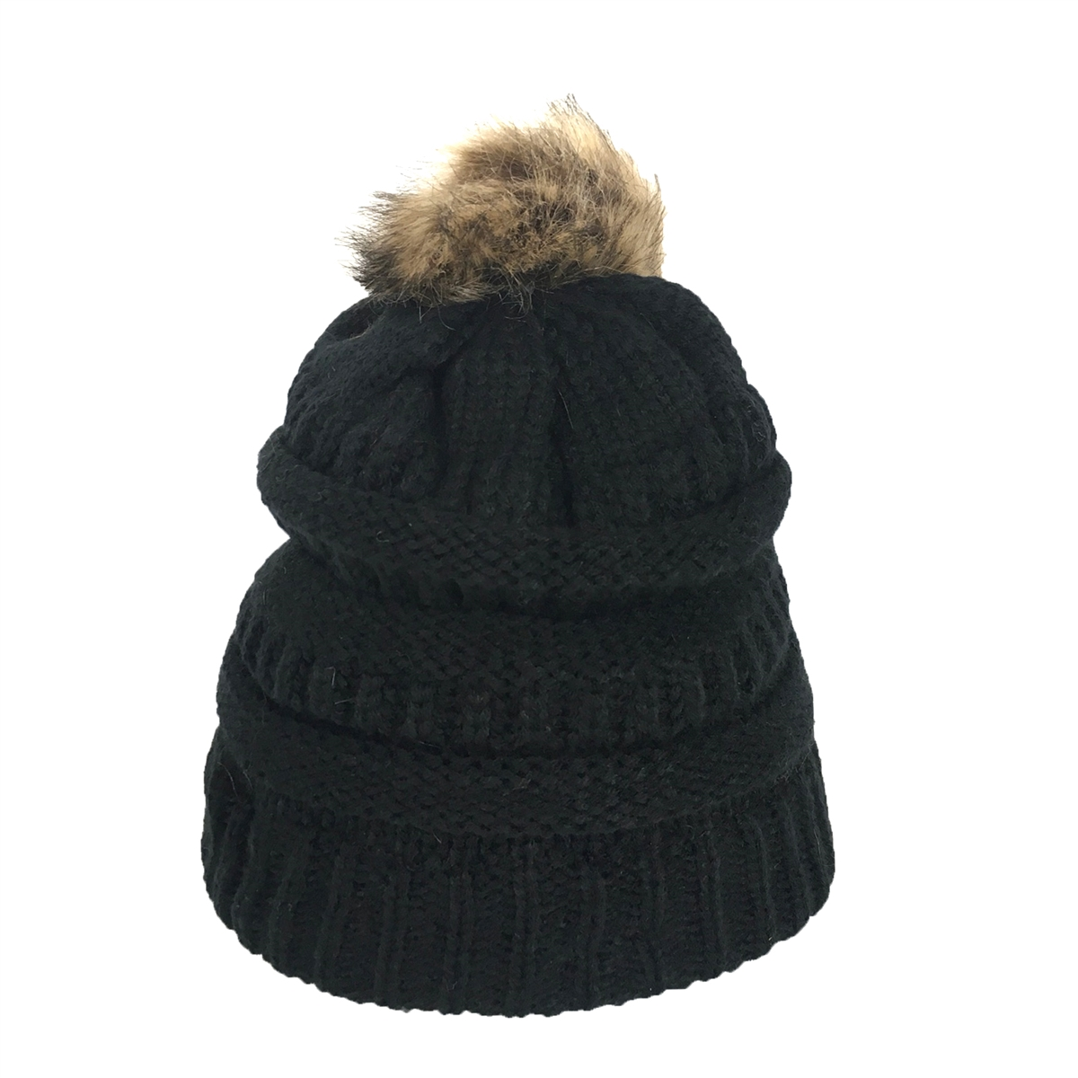 ee5a7d76b573a Fashion Culture Knit Pom Pom Fleece Lined Beanie Hat