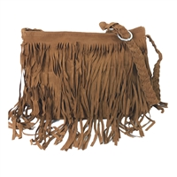Fashion Culture Vegan Suede Fringe Saddle Bag