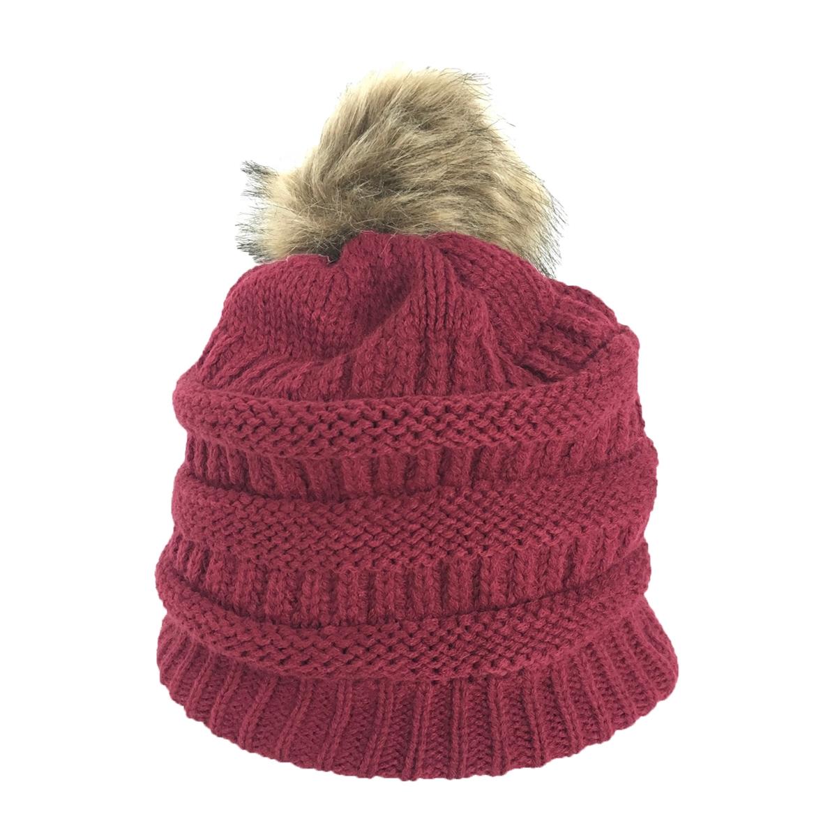 Fashion Culture Knit Pom Pom Fleece Lined Beanie Hat 41b8bbb7aadc