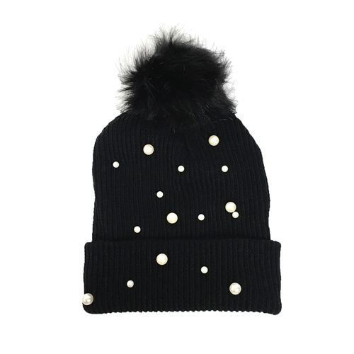 Fashion Culture Pearly Glow Pom Pom Knit Hat