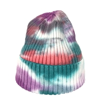 Fashion Culture Tie Dye Ribbed Knit Beanie Hat