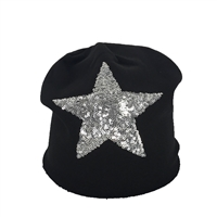 Sequin Star Slouchy Beanie Hat