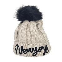0b3a9360bd1 New York Script Pom Pom Beanie Hat · Fashion Culture Women s ...