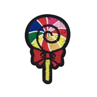 Rainbow Lollipop Embroidered Iron On Patch Applique