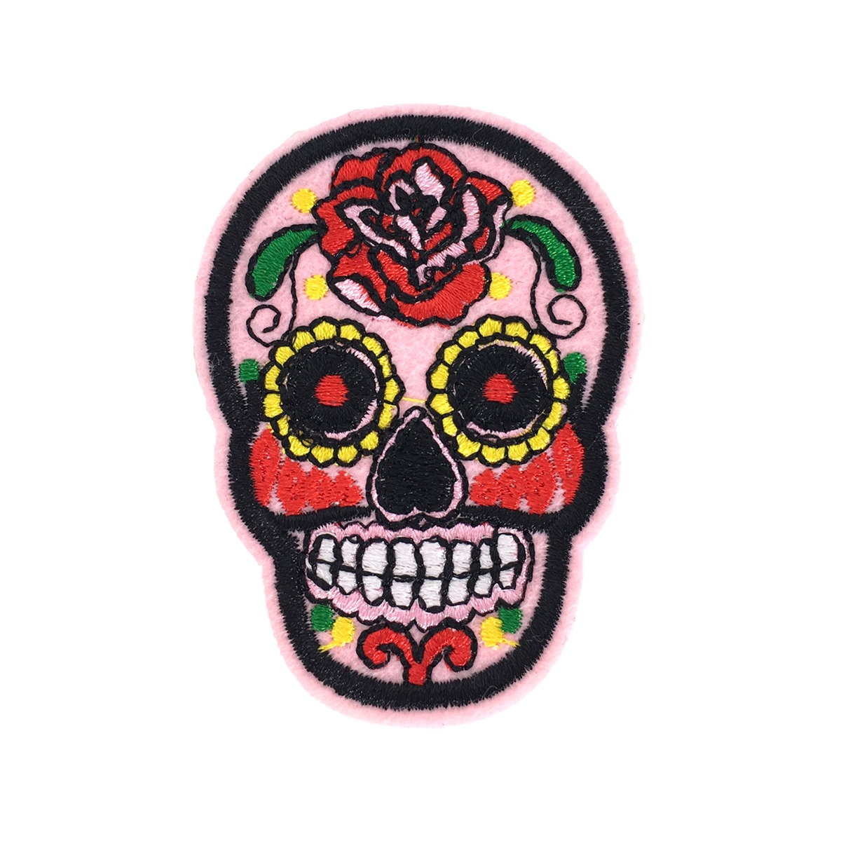 Huge SKULL Yellow Rose SEQUIN Iron On Patch