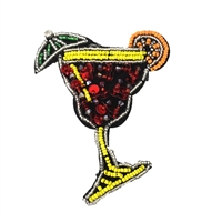 Tropical Island Drink Cocktail Sequin & Bead Embellished Patch Applique