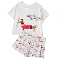 Christmas Dachshund Pajama Lounge Shorts & Crop Top Set
