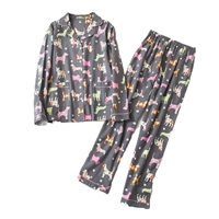 Fashion Culture Dog Print Flannel Pajama Set