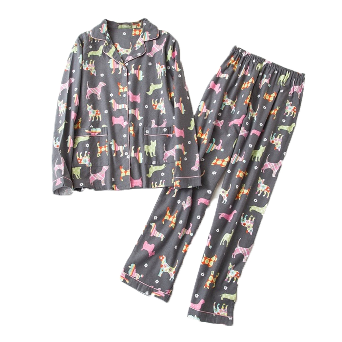 10d7b9f058 Fashion Culture Dog Print Flannel Pajama Set