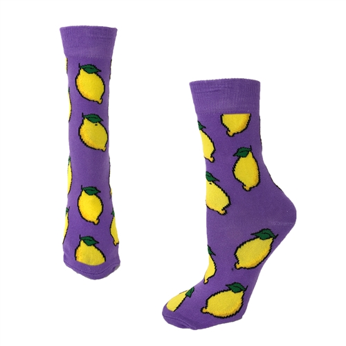 Fashion Culture Lemon Print Crew Socks