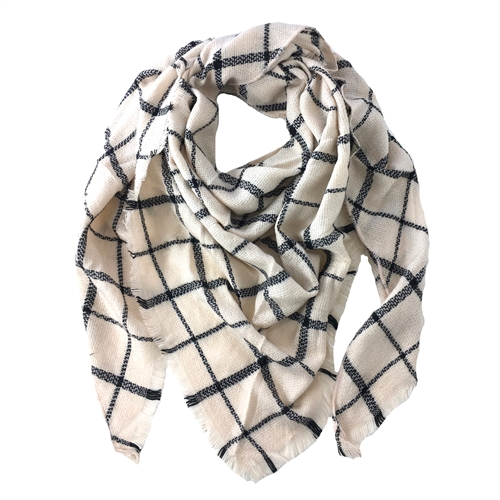 Windowpane Check Triangle Winter Scarf