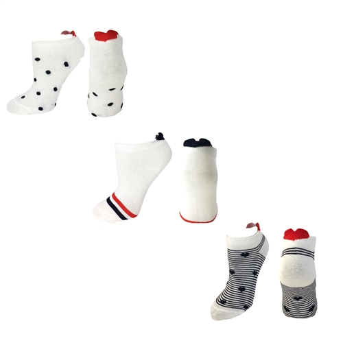 Hearts Dots & Stripes Peds Socks 3 Pair Set