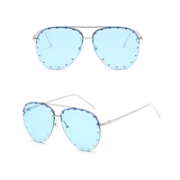 Unisex Affair Studded Aviator Sunglasses Blue Lens