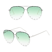 Unisex Affair Studded Aviator Sunglasses Green Lens