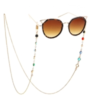 Fashion Culture Colorful Crystal Sunglasses Chain Strap