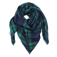 Fashion Culture Plaid Soft Knit Triangle Winter Scarf