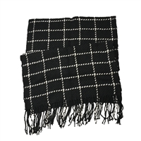 Windowpane Plaid Knit Oversized Scarf Shawl Wrap