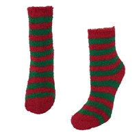Fashion Culture Elf Stripes Holiday Fuzzy Plush Socks
