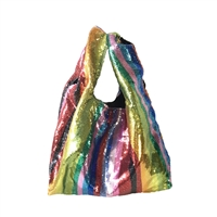 Fashion Culture Rainbow Love Sequin Slouchy Clutch Tote